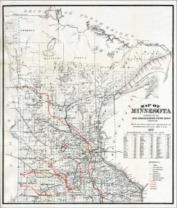 Map of Minnesota Published for the State Geographical & Natural History Survey showing The Areas where eggs were deposited by the Rocky Mountain Locust in 1873-4-5-6.