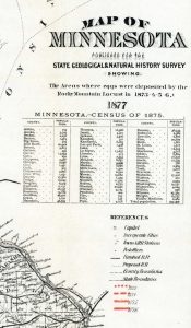 Legend of Map of Minnesota Published for the State Geographical & Natural History Survey showing The Areas where eggs were deposited by the Rocky Mountain Locust in 1873-4-5-6