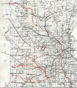 Section of the Map of Minnesota Published for the State Geographical & Natural History Survey showing The Areas where eggs were deposited by the Rocky Mountain Locust in 1873-4-5-6 containing locust activity